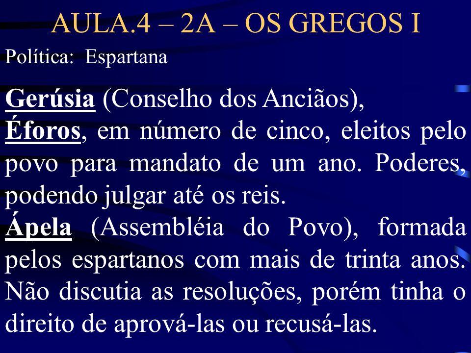AULA.4 – 2A – OS GREGOS I Gerúsia (Conselho dos Anciãos),