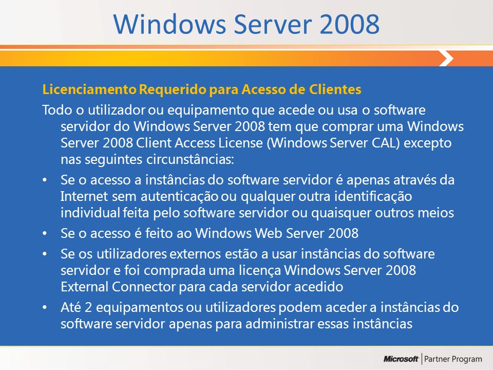 Windows Server 2008 Licenciamento Requerido para Acesso de Clientes