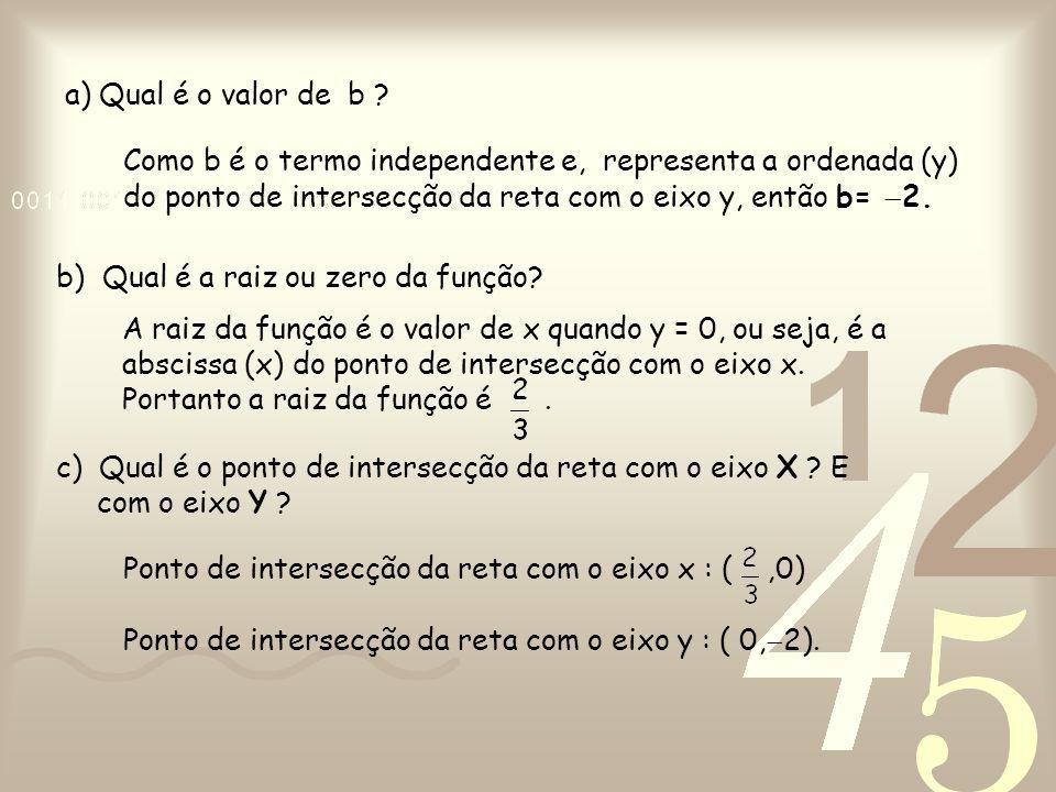 a) Qual é o valor de b Como b é o termo independente e, representa a ordenada (y) do ponto de intersecção da reta com o eixo y, então b= 2.