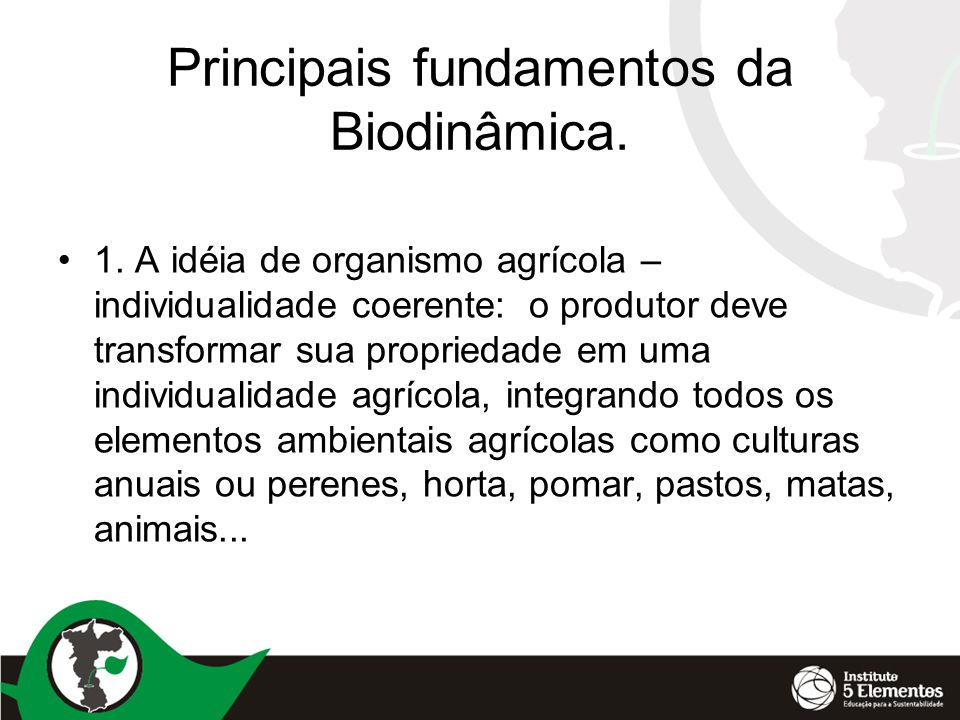 Principais fundamentos da Biodinâmica.
