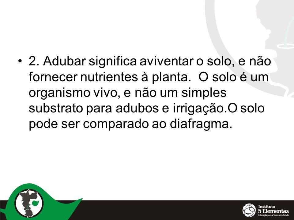 2. Adubar significa aviventar o solo, e não fornecer nutrientes à planta.