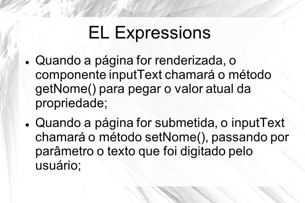 EL Expressions Quando a página for renderizada, o componente inputText chamará o método getNome() para pegar o valor atual da propriedade;