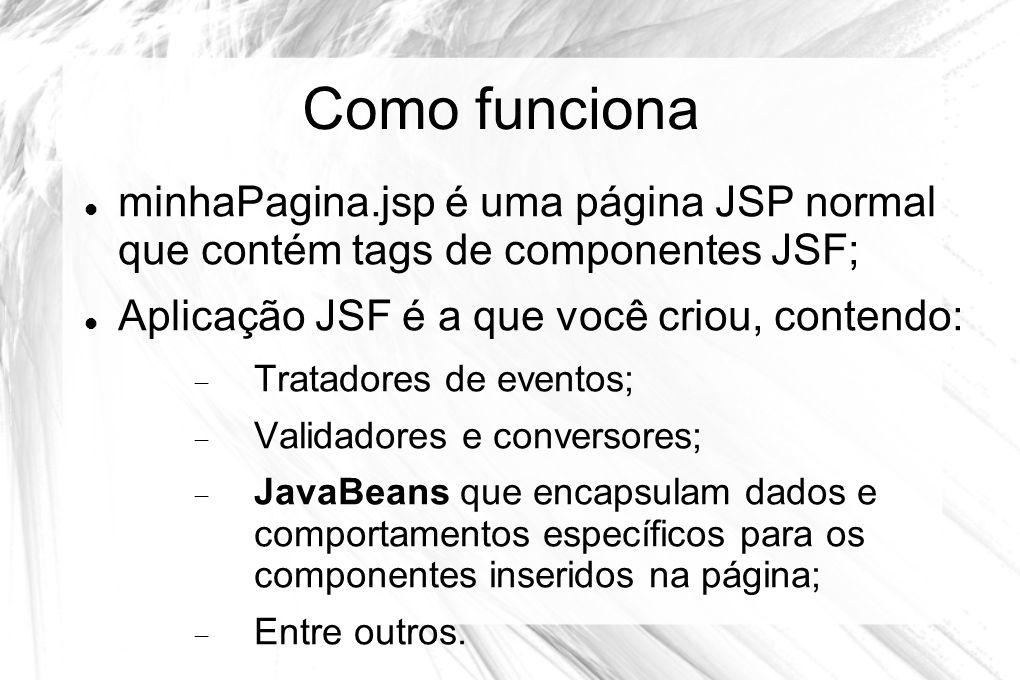 Como funciona minhaPagina.jsp é uma página JSP normal que contém tags de componentes JSF; Aplicação JSF é a que você criou, contendo: