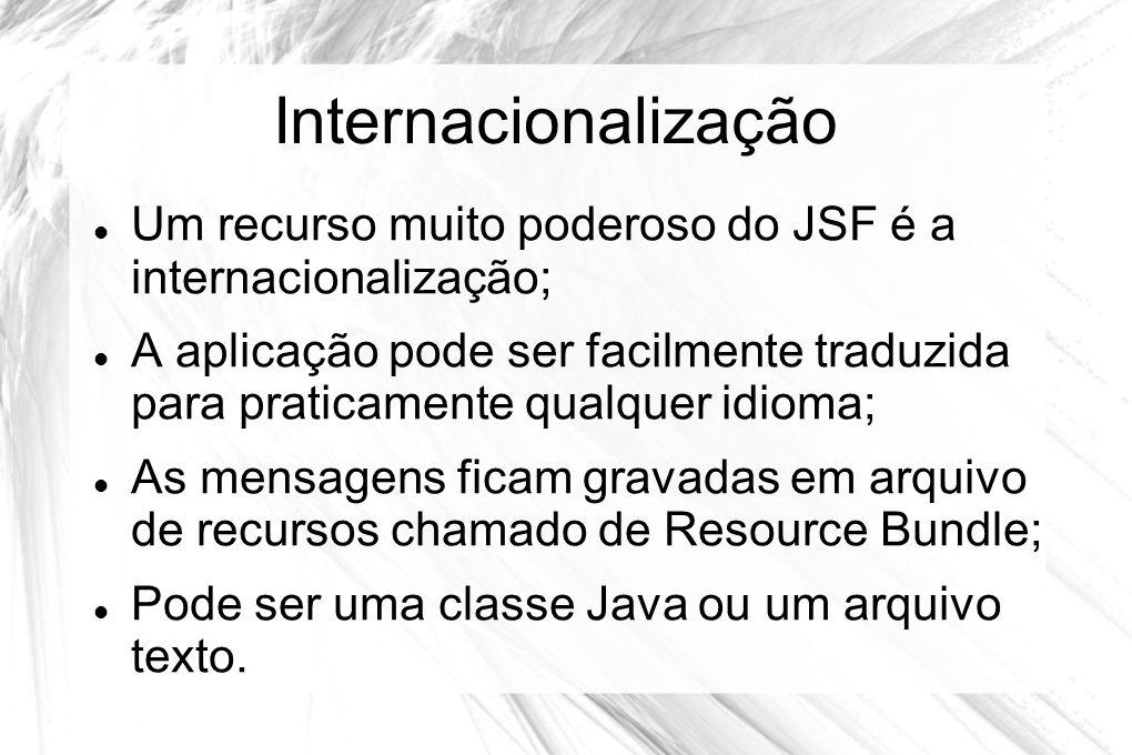 Internacionalização Um recurso muito poderoso do JSF é a internacionalização;