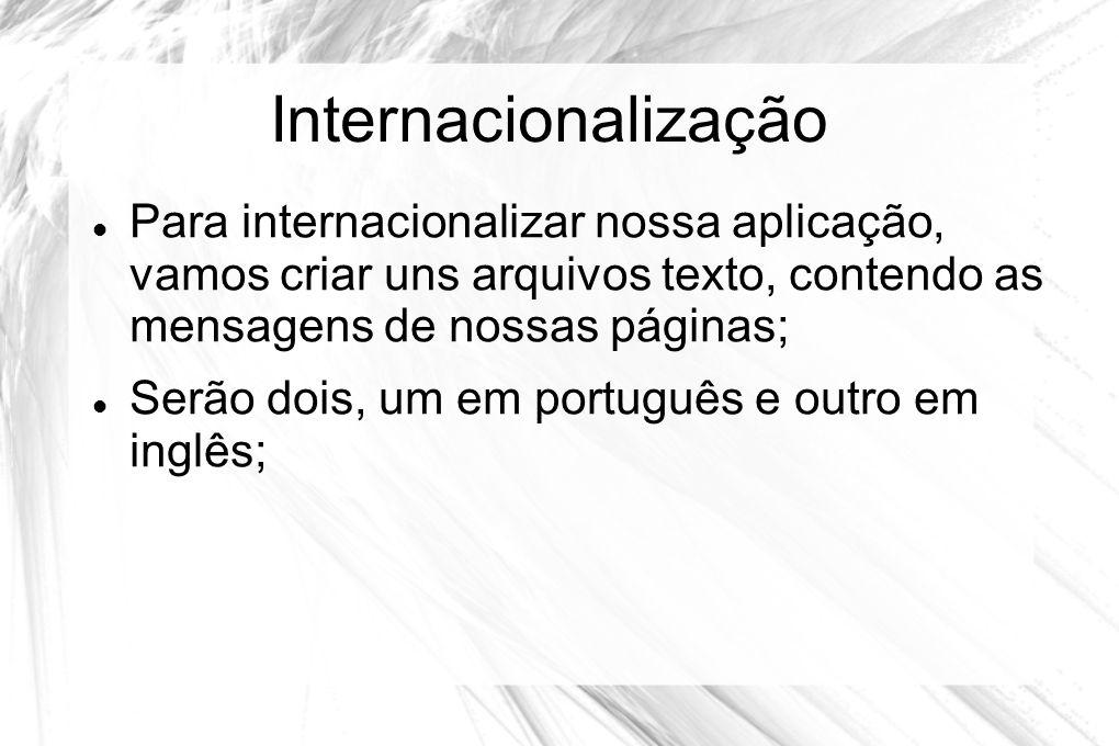 Internacionalização Para internacionalizar nossa aplicação, vamos criar uns arquivos texto, contendo as mensagens de nossas páginas;