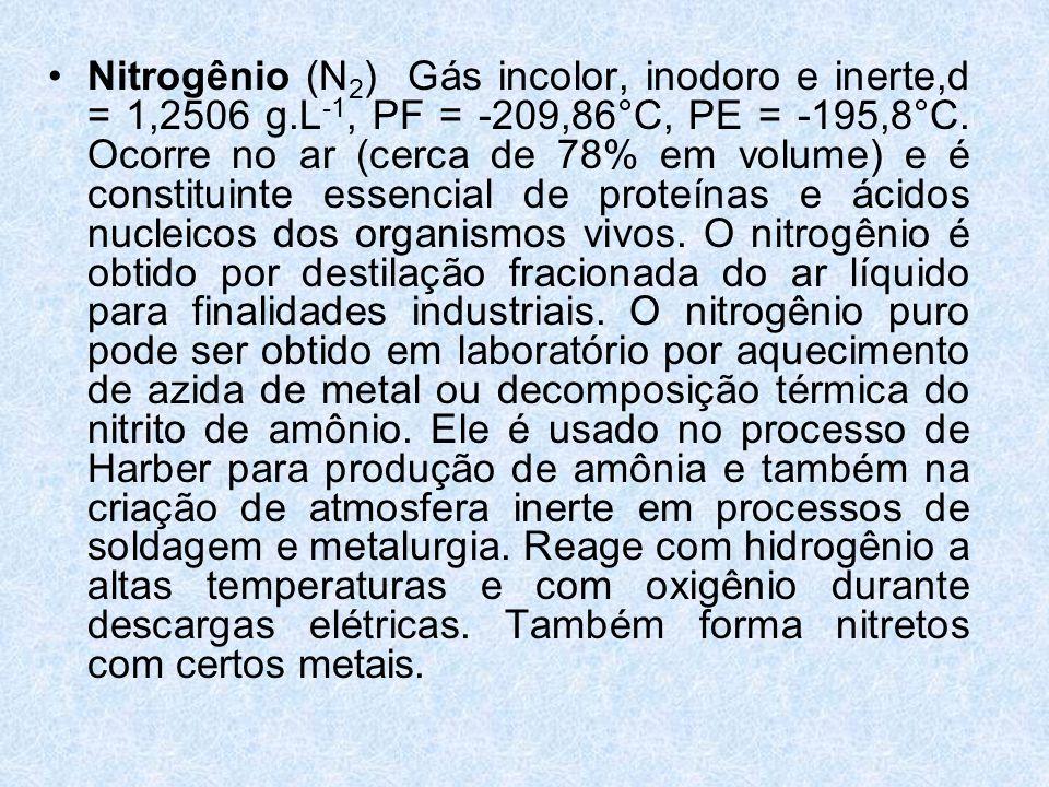 Nitrogênio (N2) Gás incolor, inodoro e inerte,d = 1,2506 g