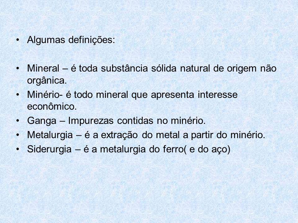 Algumas definições: Mineral – é toda substância sólida natural de origem não orgânica. Minério- é todo mineral que apresenta interesse econômico.