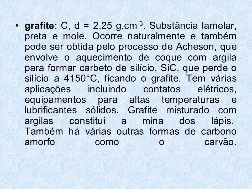 grafite: C, d = 2,25 g. cm-3. Substância lamelar, preta e mole