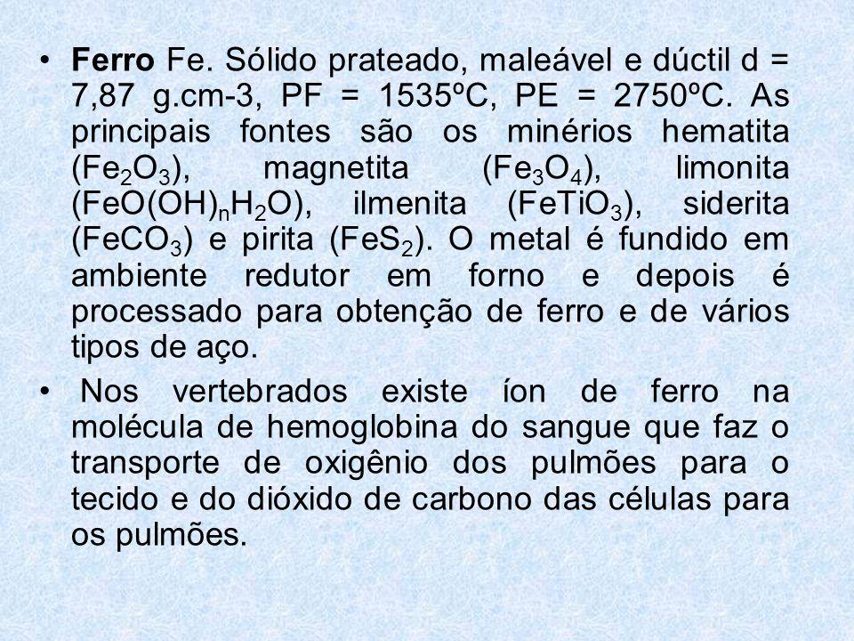 Ferro Fe. Sólido prateado, maleável e dúctil d = 7,87 g