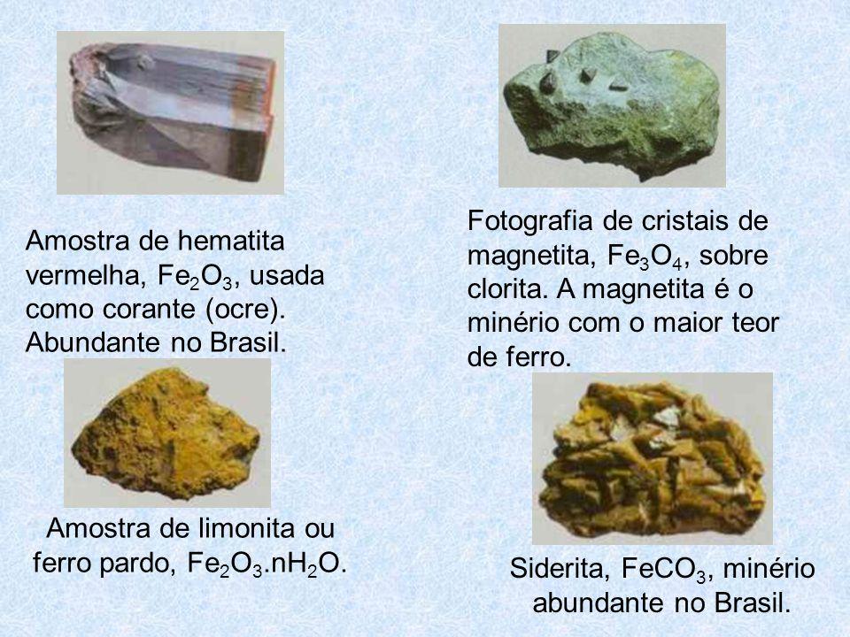 Amostra de limonita ou ferro pardo, Fe2O3.nH2O.