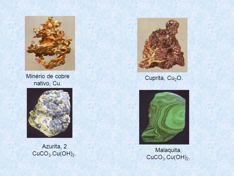 Minério de cobre nativo, Cu.