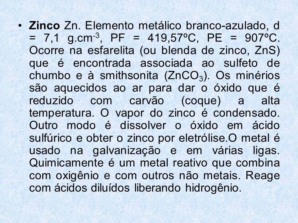 Zinco Zn. Elemento metálico branco-azulado, d = 7,1 g
