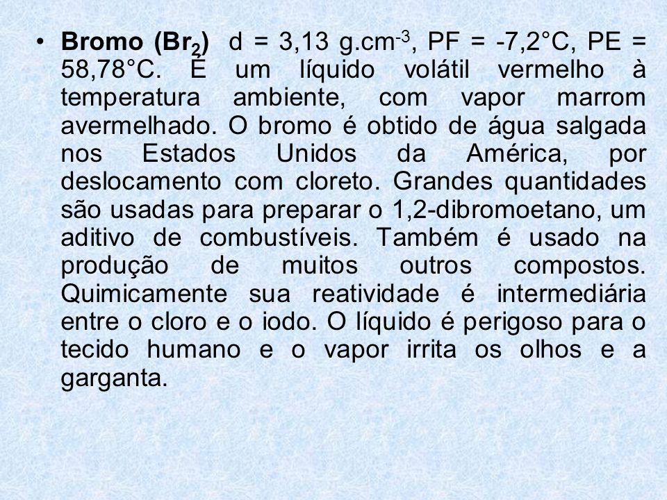 Bromo (Br2) d = 3,13 g. cm-3, PF = -7,2°C, PE = 58,78°C