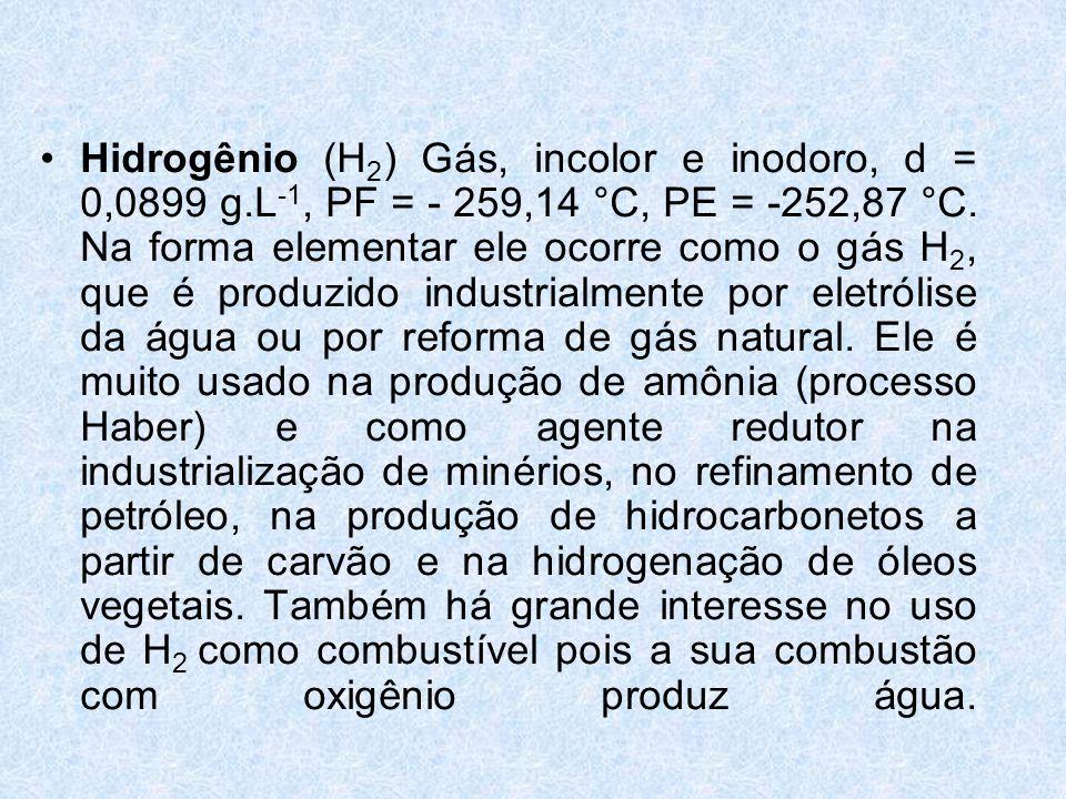 Hidrogênio (H2) Gás, incolor e inodoro, d = 0,0899 g