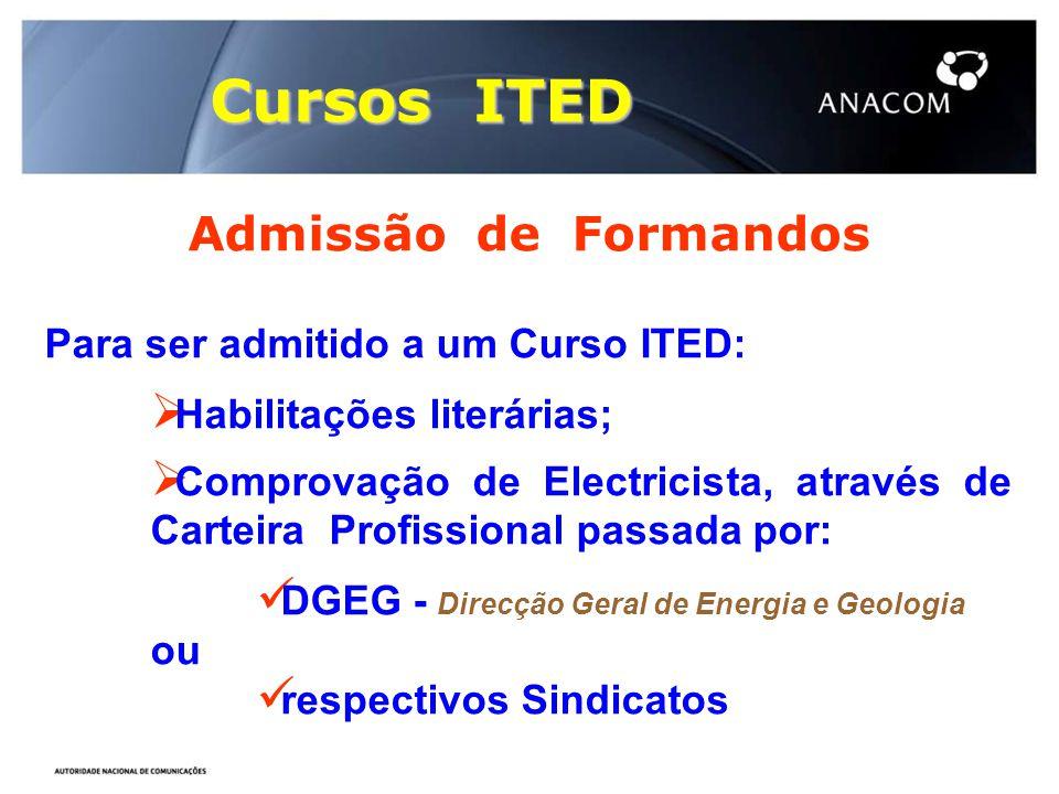 Cursos ITED Admissão de Formandos Para ser admitido a um Curso ITED: