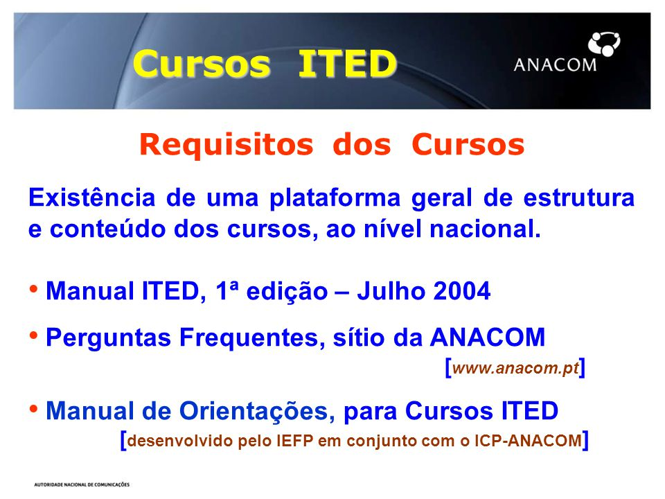 Cursos ITED Requisitos dos Cursos