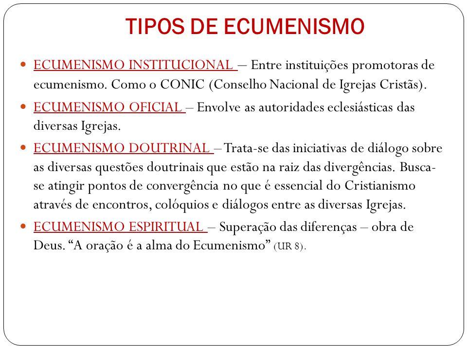 TIPOS DE ECUMENISMO ECUMENISMO INSTITUCIONAL – Entre instituições promotoras de ecumenismo. Como o CONIC (Conselho Nacional de Igrejas Cristãs).