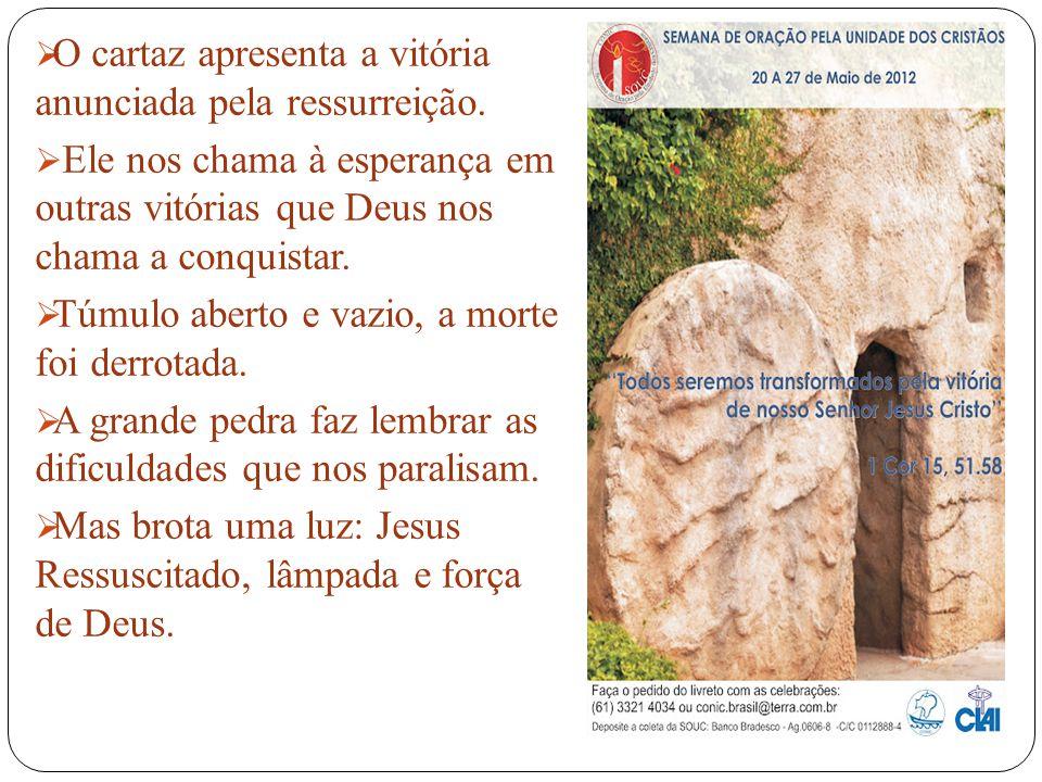 O cartaz apresenta a vitória anunciada pela ressurreição.