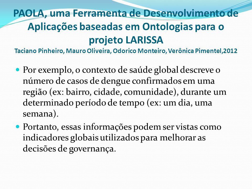 PAOLA, uma Ferramenta de Desenvolvimento de Aplicações baseadas em Ontologias para o projeto LARISSA Taciano Pinheiro, Mauro Oliveira, Odorico Monteiro, Verônica Pimentel,2012