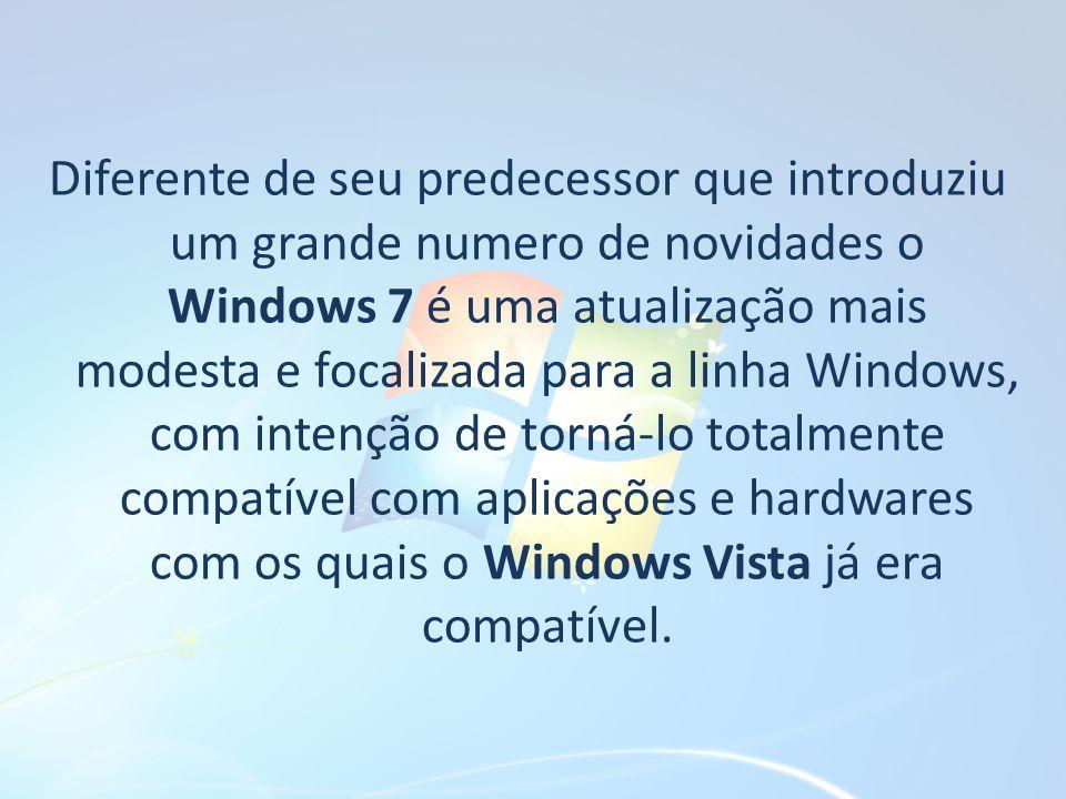 Diferente de seu predecessor que introduziu um grande numero de novidades o Windows 7 é uma atualização mais modesta e focalizada para a linha Windows, com intenção de torná-lo totalmente compatível com aplicações e hardwares com os quais o Windows Vista já era compatível.