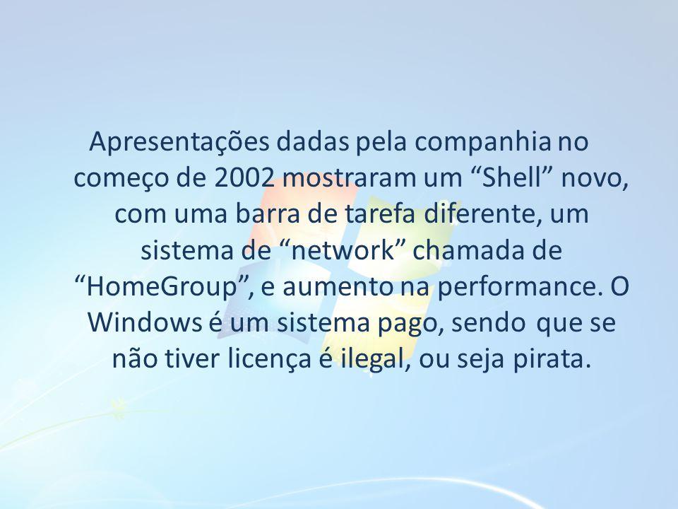 Apresentações dadas pela companhia no começo de 2002 mostraram um Shell novo, com uma barra de tarefa diferente, um sistema de network chamada de HomeGroup , e aumento na performance.