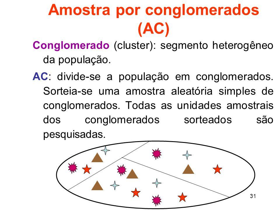 Amostra por conglomerados (AC)