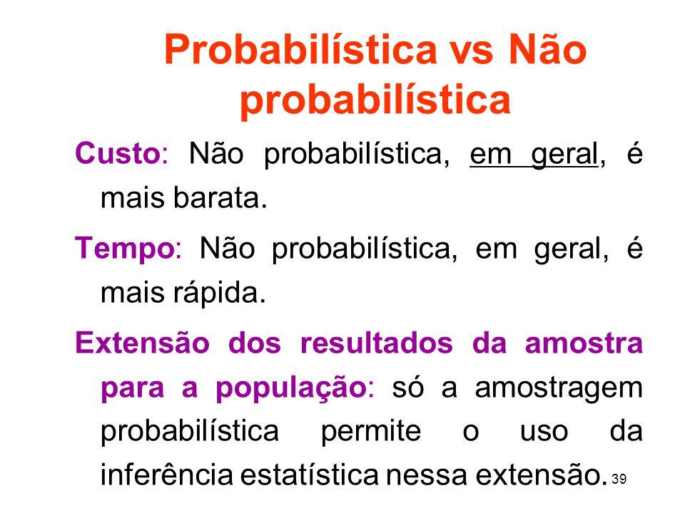 Probabilística vs Não probabilística