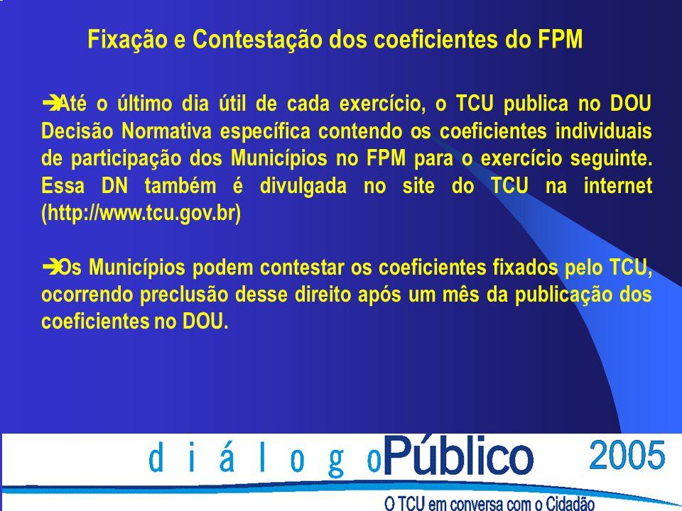 Fixação e Contestação dos coeficientes do FPM
