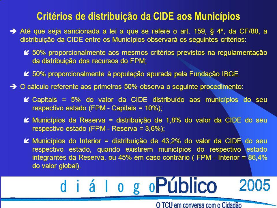 Critérios de distribuição da CIDE aos Municípios