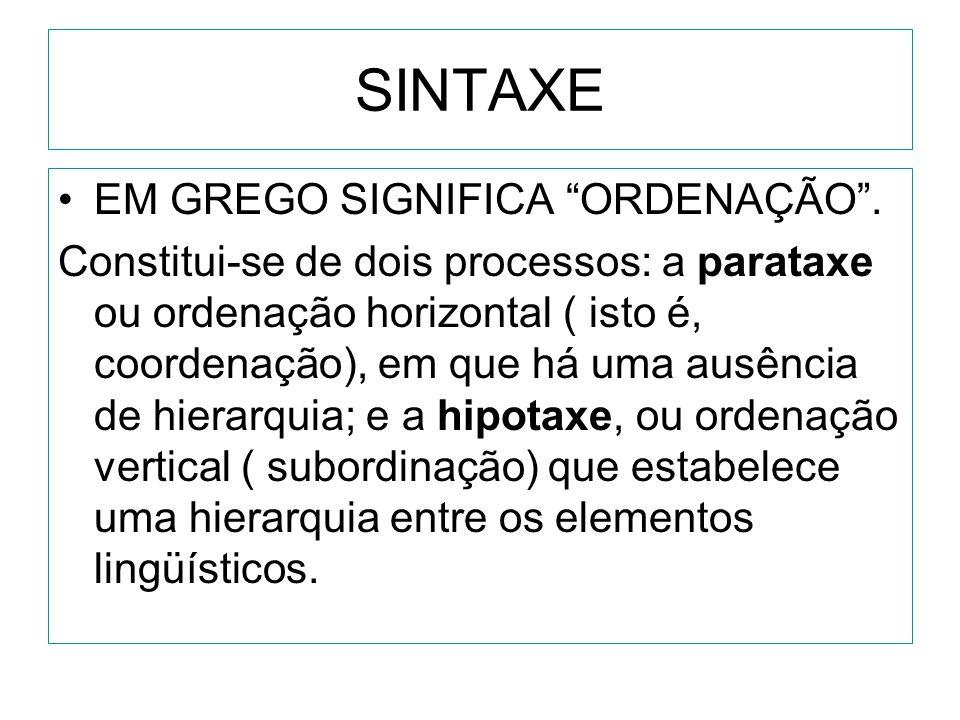 SINTAXE EM GREGO SIGNIFICA ORDENAÇÃO .