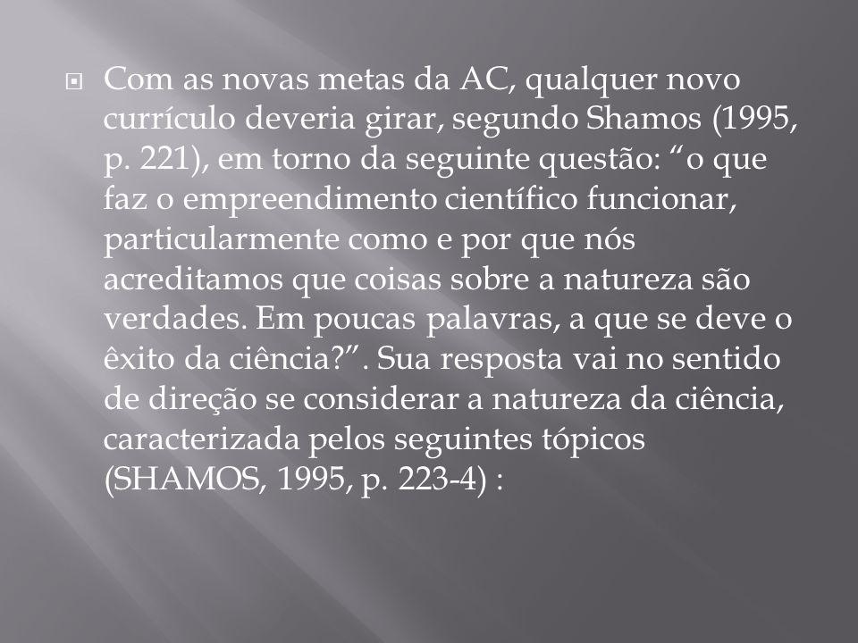 Com as novas metas da AC, qualquer novo currículo deveria girar, segundo Shamos (1995, p.