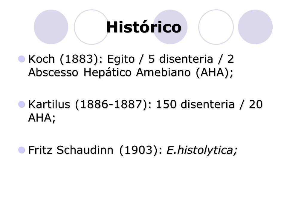 Histórico Koch (1883): Egito / 5 disenteria / 2 Abscesso Hepático Amebiano (AHA); Kartilus (1886-1887): 150 disenteria / 20 AHA;