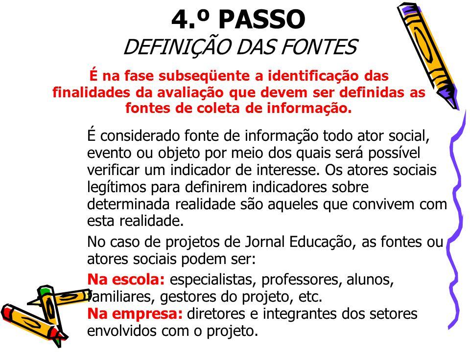 4.º PASSO DEFINIÇÃO DAS FONTES