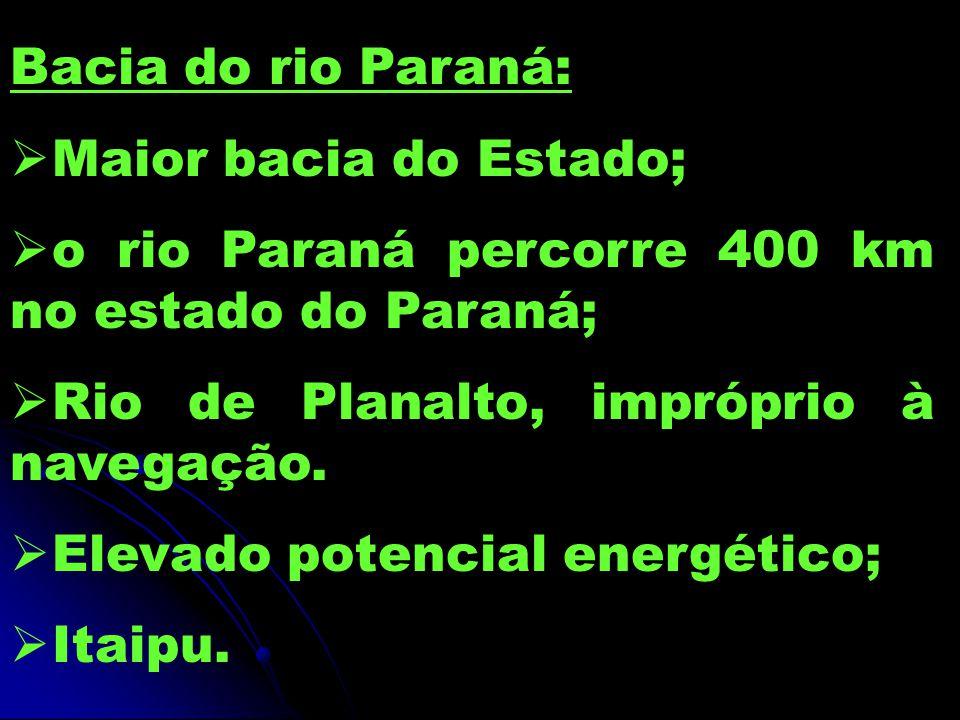 Bacia do rio Paraná: Maior bacia do Estado; o rio Paraná percorre 400 km no estado do Paraná; Rio de Planalto, impróprio à navegação.