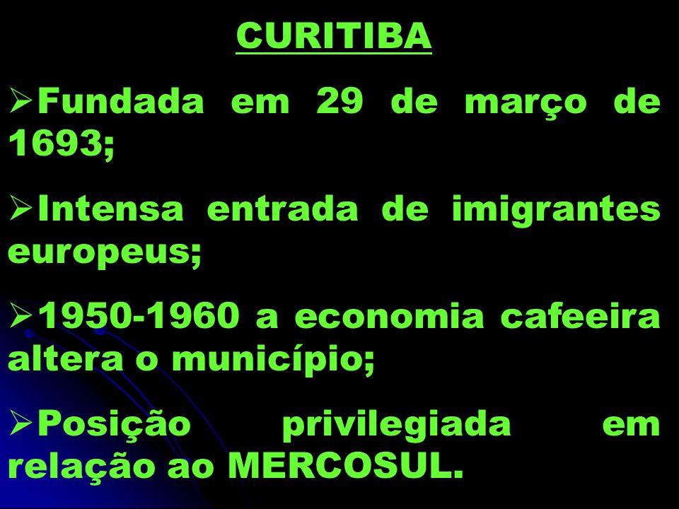 CURITIBA Fundada em 29 de março de 1693; Intensa entrada de imigrantes europeus; 1950-1960 a economia cafeeira altera o município;