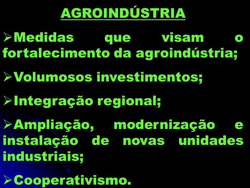 AGROINDÚSTRIA Medidas que visam o fortalecimento da agroindústria; Volumosos investimentos; Integração regional;