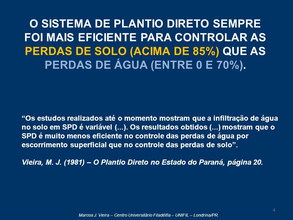 O SISTEMA DE PLANTIO DIRETO SEMPRE FOI MAIS EFICIENTE PARA CONTROLAR AS PERDAS DE SOLO (ACIMA DE 85%) QUE AS PERDAS DE ÁGUA (ENTRE 0 E 70%).