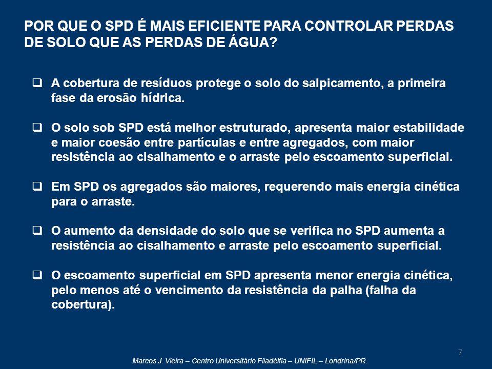 POR QUE O SPD É MAIS EFICIENTE PARA CONTROLAR PERDAS DE SOLO QUE AS PERDAS DE ÁGUA