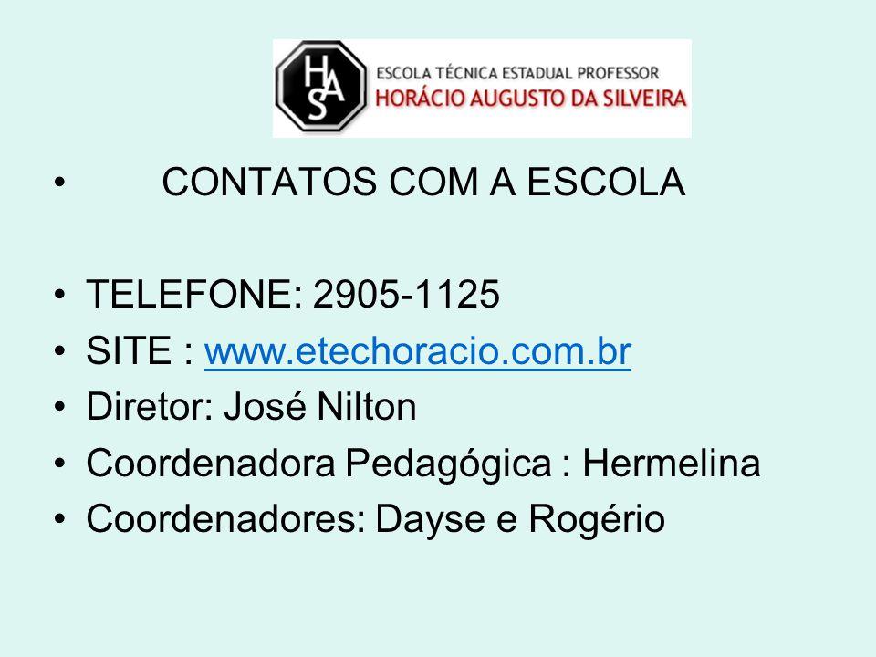 CONTATOS COM A ESCOLA TELEFONE: 2905-1125. SITE : www.etechoracio.com.br. Diretor: José Nilton. Coordenadora Pedagógica : Hermelina.
