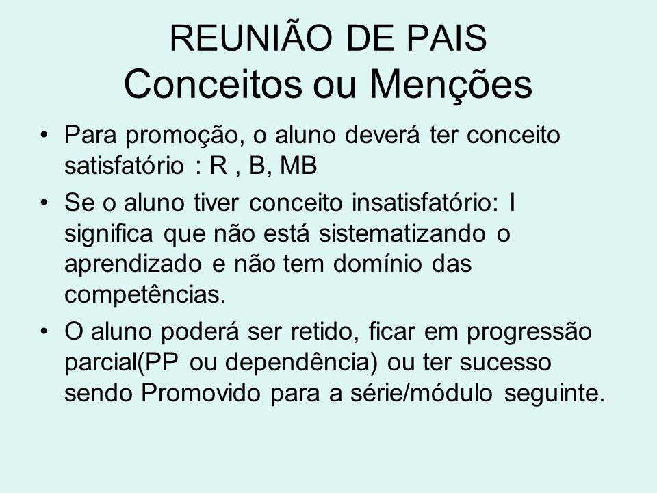 REUNIÃO DE PAIS Conceitos ou Menções