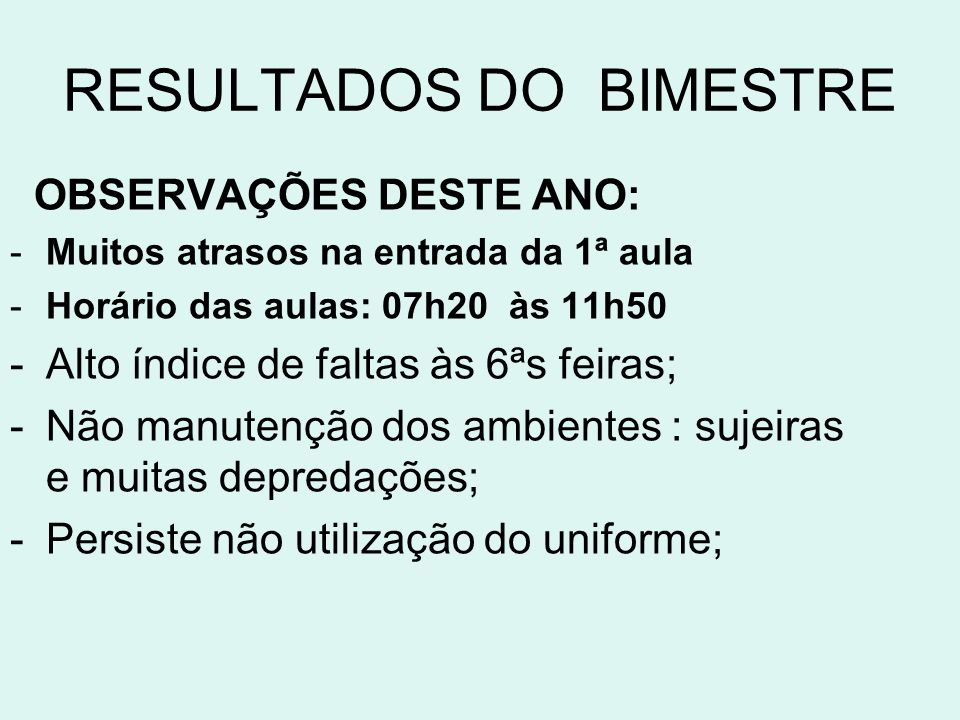 RESULTADOS DO BIMESTRE
