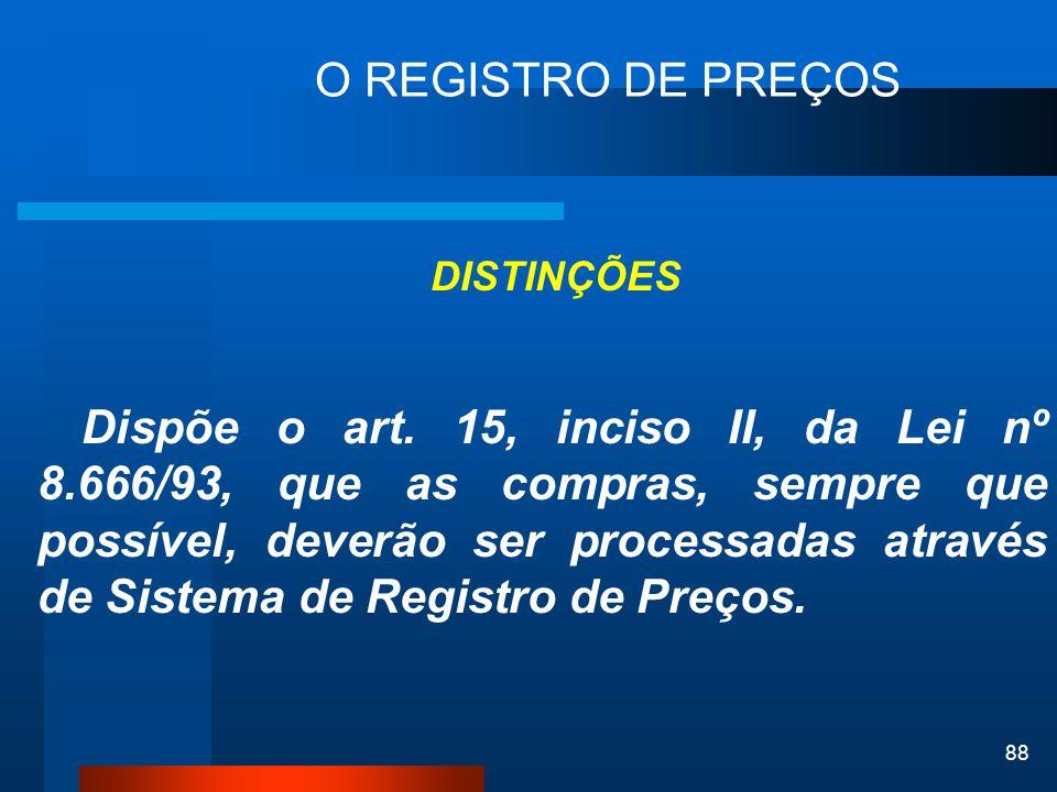 O REGISTRO DE PREÇOS DISTINÇÕES.