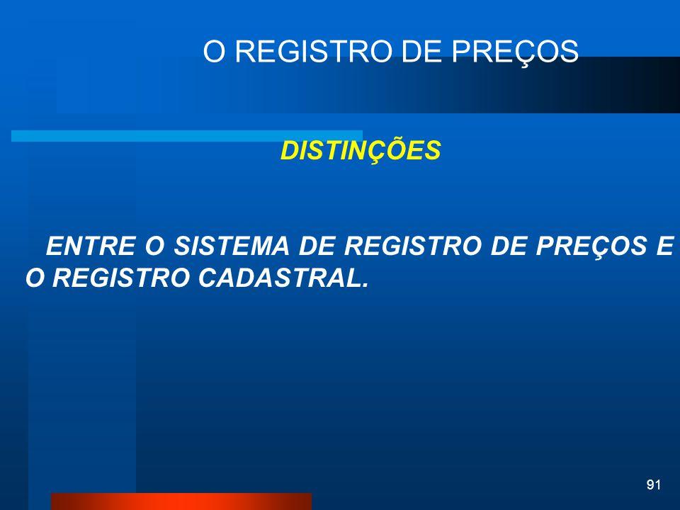 O REGISTRO DE PREÇOS DISTINÇÕES. ENTRE O SISTEMA DE REGISTRO DE PREÇOS E O REGISTRO CADASTRAL.