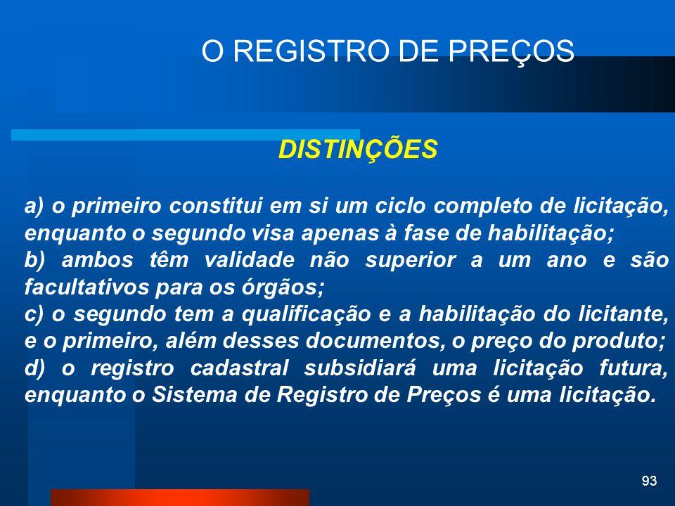 O REGISTRO DE PREÇOS DISTINÇÕES