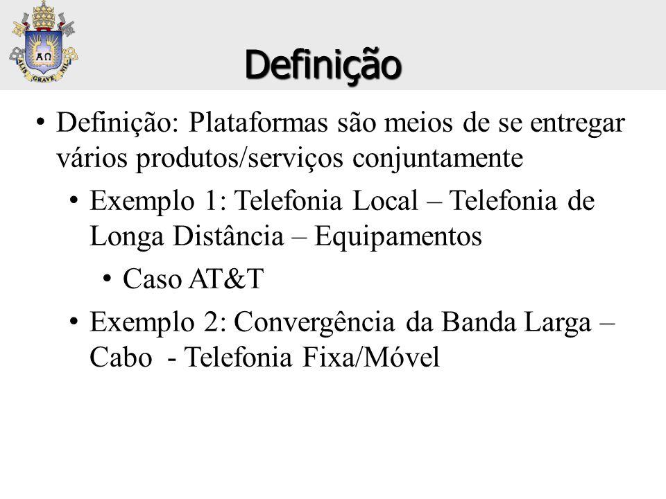 Definição Definição: Plataformas são meios de se entregar vários produtos/serviços conjuntamente.