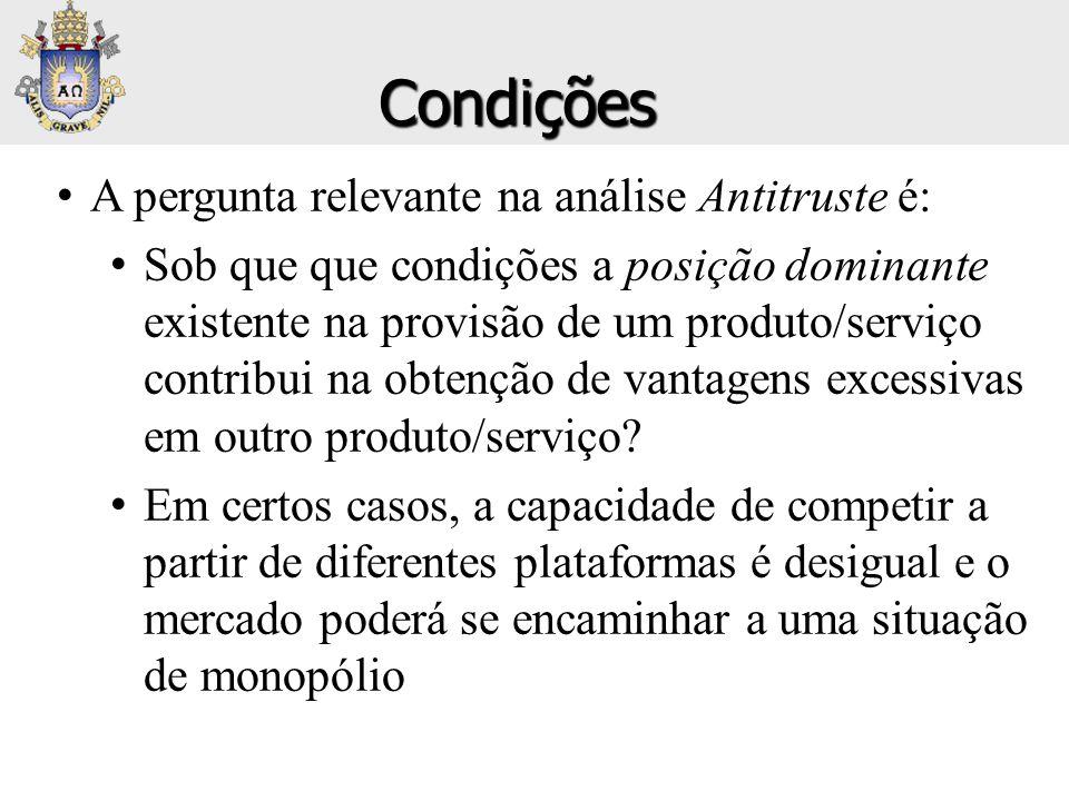 Condições A pergunta relevante na análise Antitruste é: