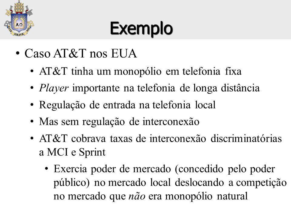 Exemplo Caso AT&T nos EUA AT&T tinha um monopólio em telefonia fixa