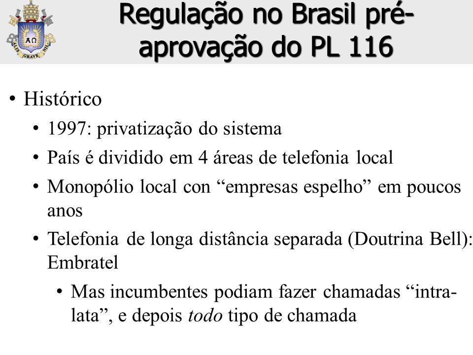 Regulação no Brasil pré-aprovação do PL 116