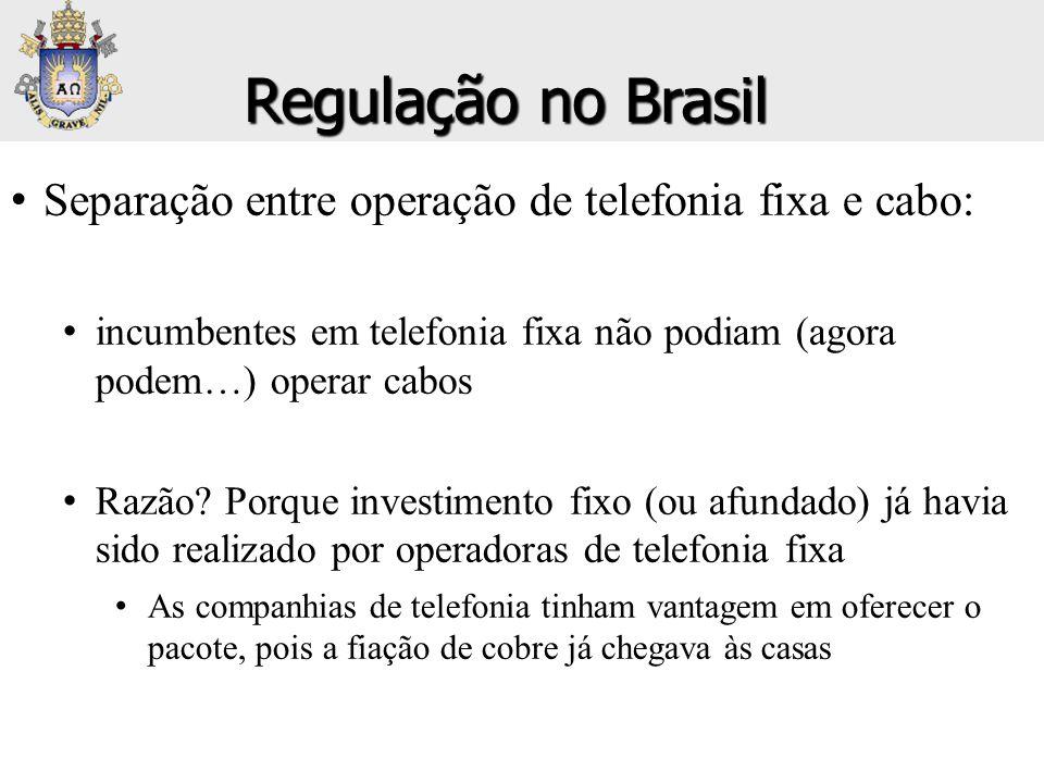 Regulação no Brasil Separação entre operação de telefonia fixa e cabo: