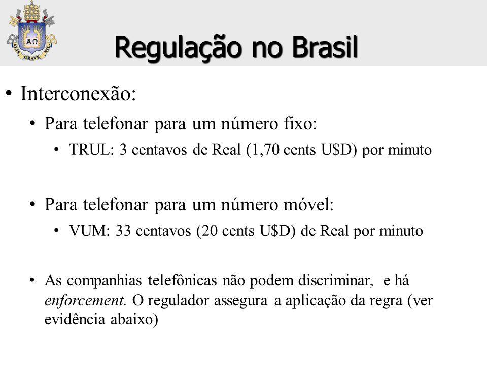 Regulação no Brasil Interconexão: Para telefonar para um número fixo: